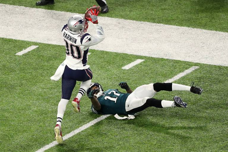 Lance do Super Bowl 52, disputado entre o New England Patriots e o Philadelphia Eagles