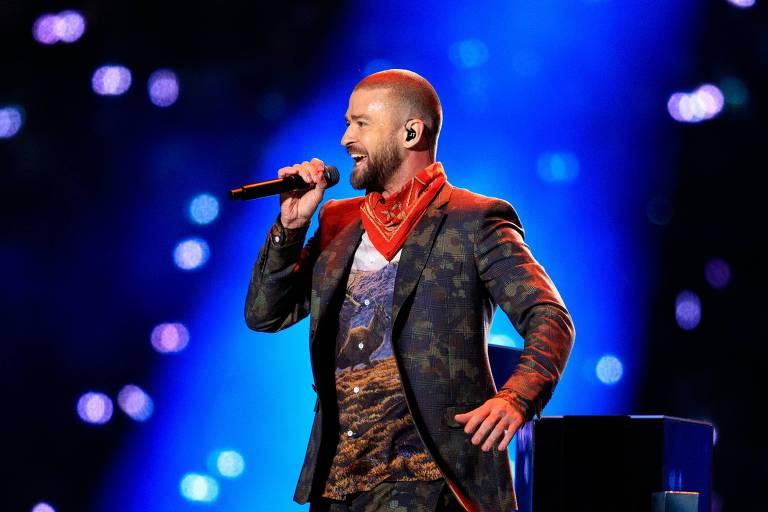 Justin Timberlake durante apresentação no 52º Super Bowl