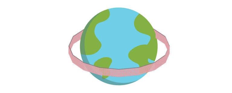 Empilhando canudos num murode 2,10 metros de altura, seria possível dar uma volta completa na Terra, numa linha de mais de 45.000 quilômetros