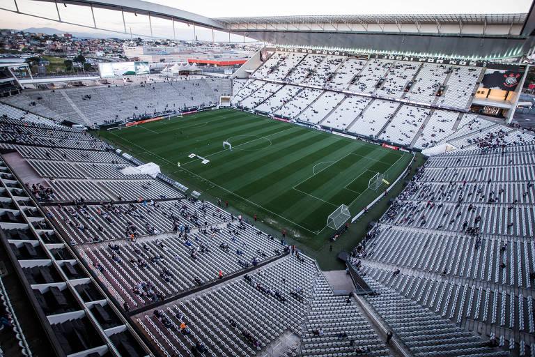 Vista geral interna da arena corintiana, em Itaquera, na zona leste de SP, antes de partida do Corinthians contra o Sport, pelo Campeonato Brasileiro de 2017