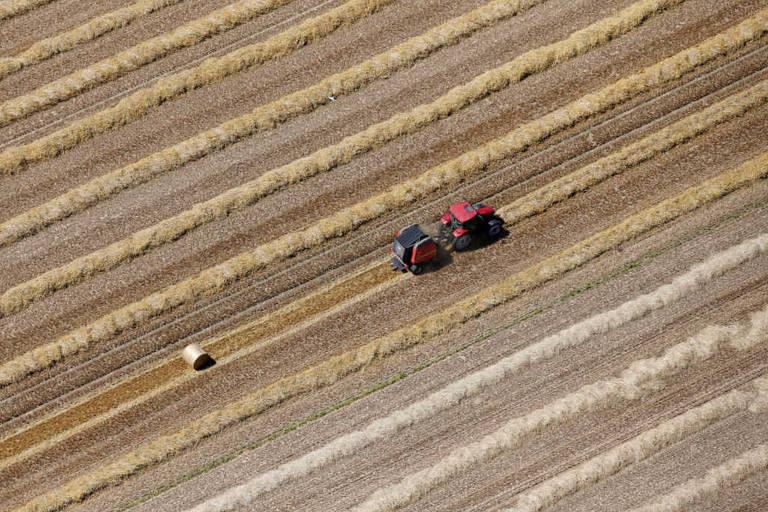 Trator em plantação de trigo perto de Calais, no norte da França