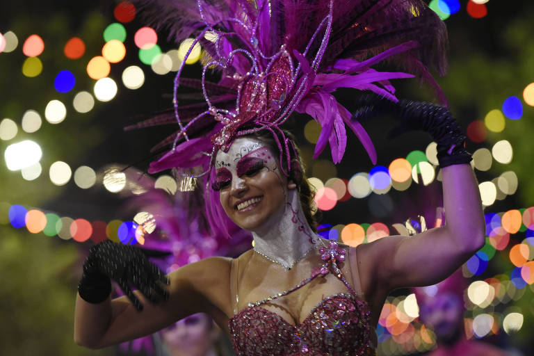 Foliona fantasiada para o Carnaval