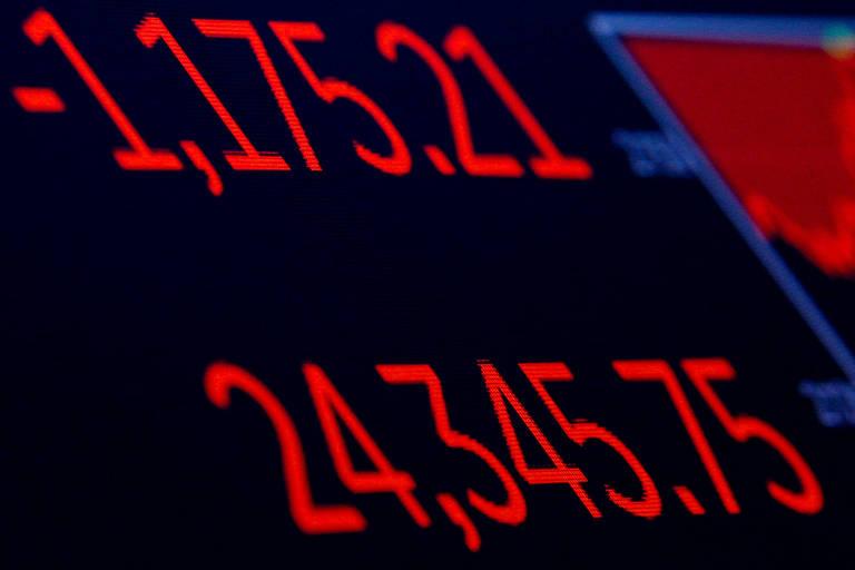 Tela mostra o Dow Jones, dos EUA, no pregão de 5 de fevereiro: maior queda diária  em pontos do índice americano