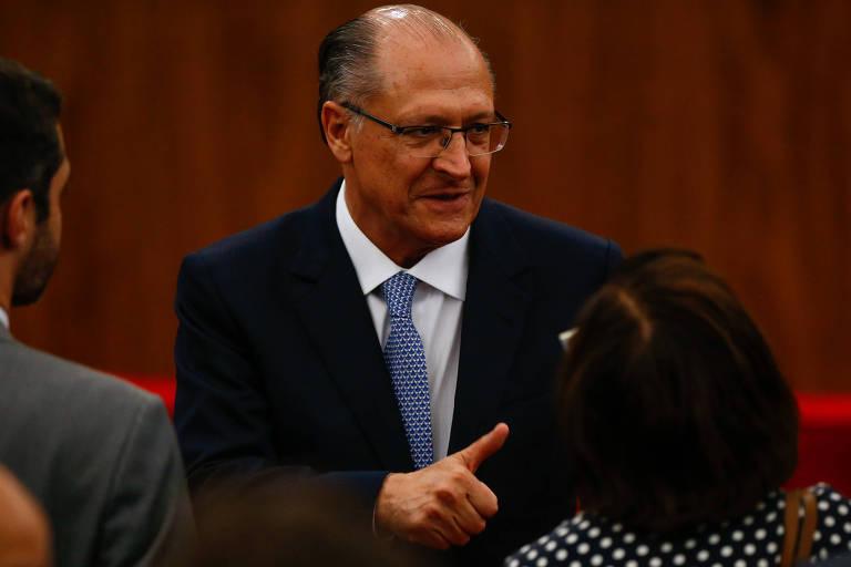O governador de SP Geraldo Alckmin na cerimônia de posse de Luiz Fux no TSE