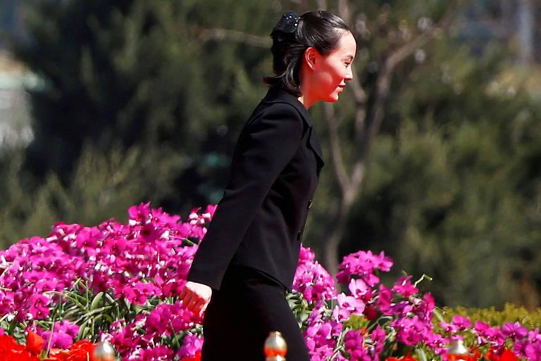Kim Yo-jong, irmã do ditador Kim Jong-un, durante uma cerimônia em Pyongyang, na Coreia do Norte