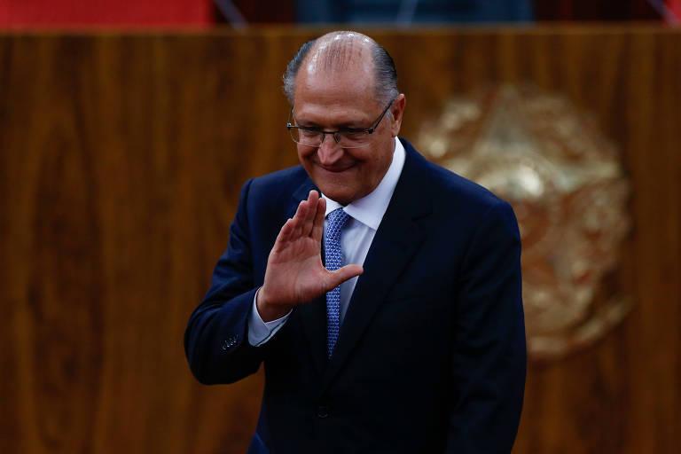 O governador de São Paulo, Geraldo Alckmin, durante cerimônia de posse do novo presidente do TSE, o ministro Luiz Fux