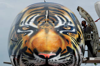 Embraer E-190 E2 aircraft featuring a spray painted tiger's face is displayed during a media preview of the Singapore Airshow
