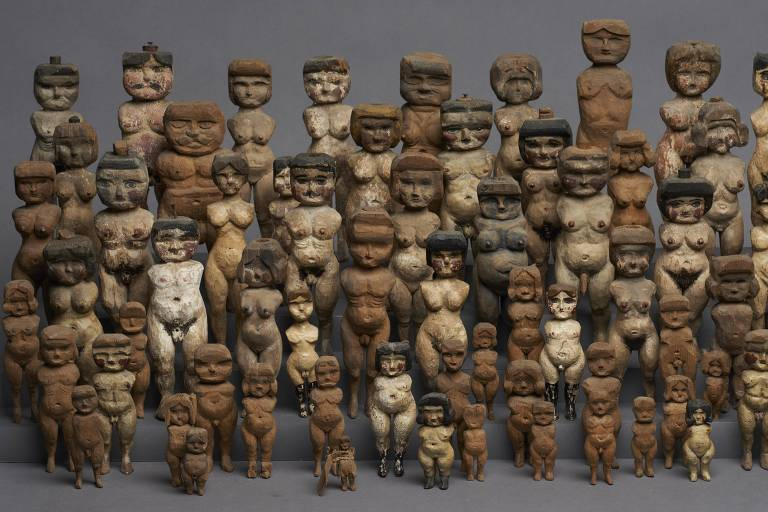 Esculturas sem data achadas nos EUA, expostas no Mona, em Hobart, capital da Tasmânia