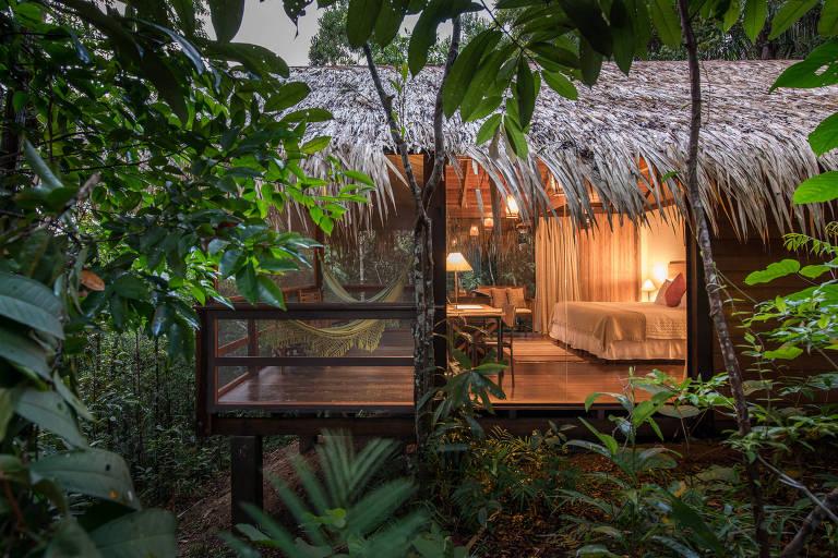 cabana iluminada em meio a vegetação