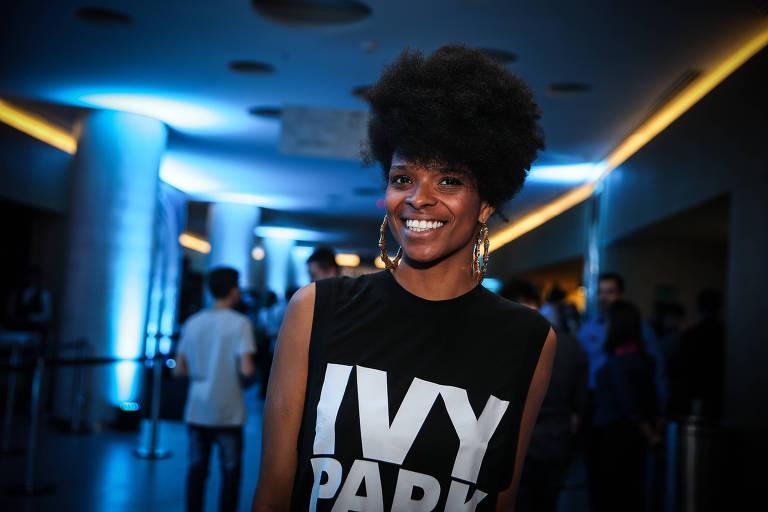 """Vaneza Oliveira na pré-estreia do filme """"Pantera Negra"""" no JK Iguatemi, em SP, em fevererio de 2018"""
