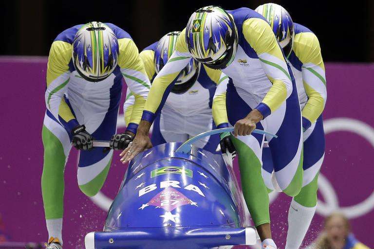 Equipe brasileira de bobsled, formada por Edson Bindilatti, Odirlei Pessoni, Edson Ricardo Martins e Fabio Goncalves Silva, compete nos Jogos de Inverno de Sochi-2014
