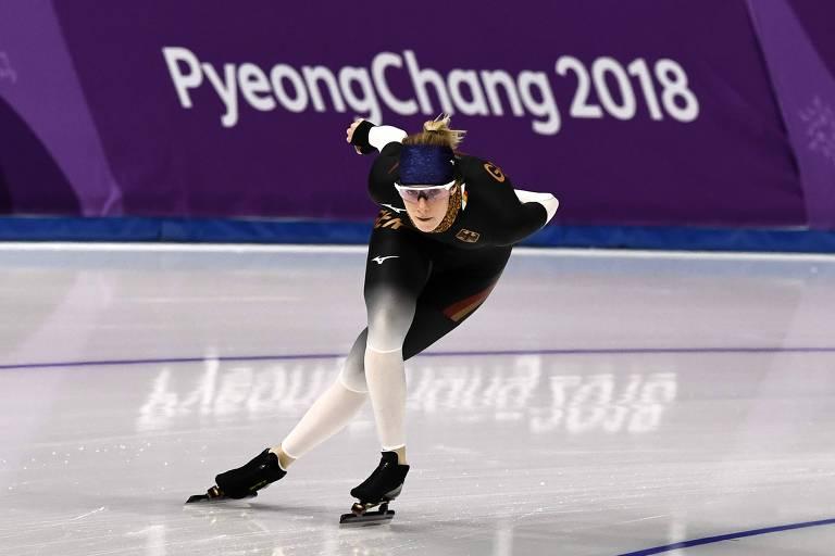 Roxanne Dufter, da Alemanha, treina em PyeongChang