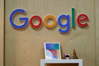 The Google logo is seen at the Young Entrepreneurs fair in Paris