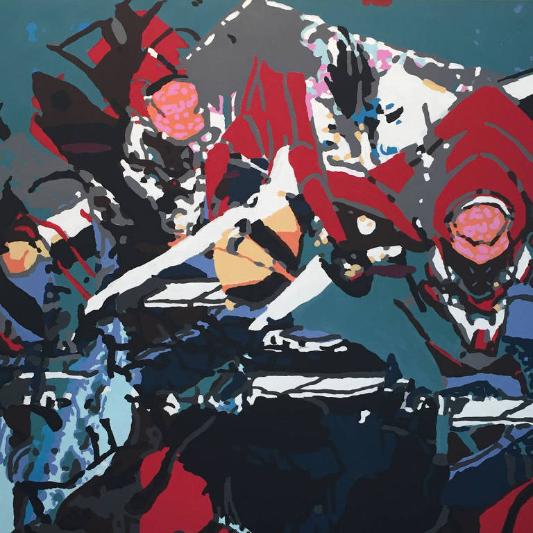 """Máquina nº 2"", pintura de Felipe Morelatto que está na mostra"