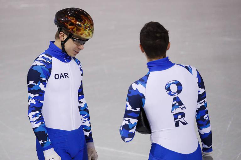 Atletas russos usam uniformes identificados com a sigla OAR (Atletas Olímpicos da Rússia, em inglês) nos Jogos de Inverno de PyeongChang
