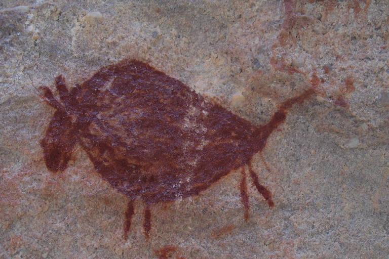 Pinturas rupestres que Iderlan estudou no Parque Nacional da Serra da Capivara, no Piauí
