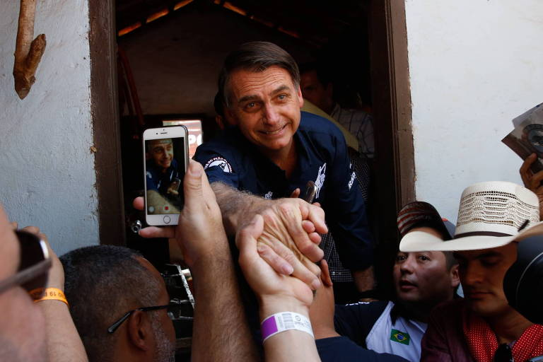O deputado Jair Bolsonaro, em visita a Barretos (SP)