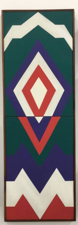 quadro em verde, branco, vermelho e azul