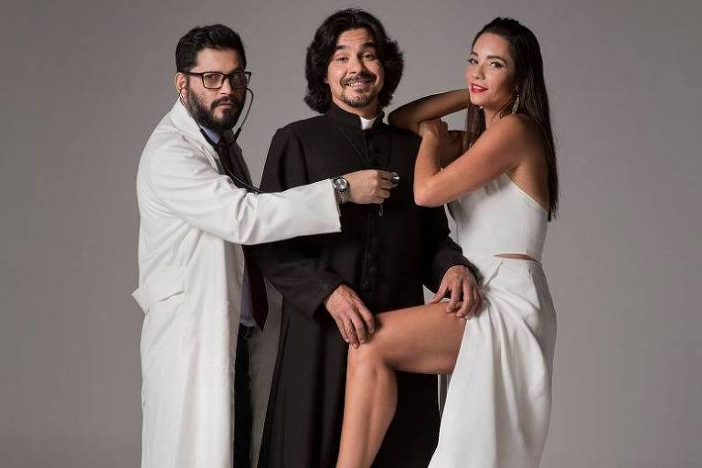 """Rodolfo Mesquita, André Gonçalves e Amandha Lee na peça """"Agora e na Hora"""""""