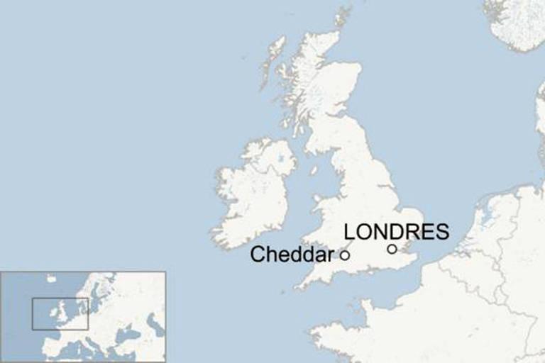 Mapa mostrando a distância entre Londres e Cheddar