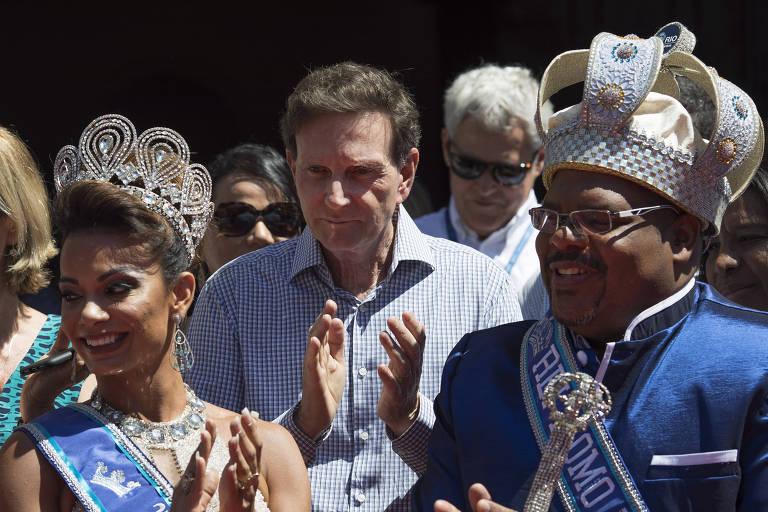 O prefeito do Rio de Janeiro, Marcelo Crivella, durante cerimônia de entrega da chave da cidade ao Rei Momo do Carnaval