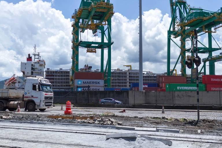 Navio carregado com cerca de 20 mil bois, no Porto de Santos (SP)