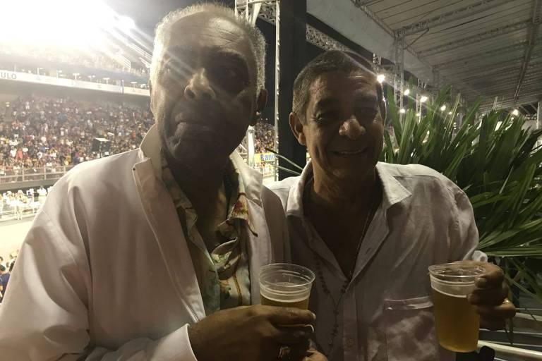 Gilberto Gil e Zeca Pagodinho em camarote no Anhembi