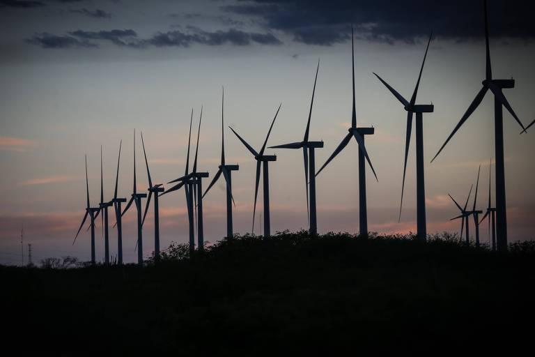 Torres de energia eólica dispostas lado a lado no município de Araripina (PI)
