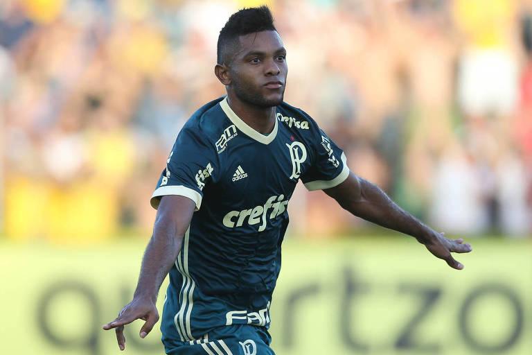 Borja comemora o primeiro gol do Palmeiras contra o Mirassol