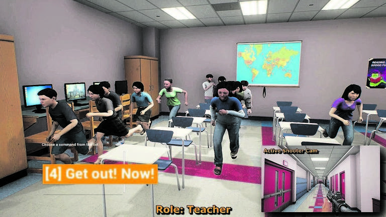 a imagem reproduz cena de videogame para treinar alunos contra ataques mostra jovens numa sala de aula se levantando das cadeiras