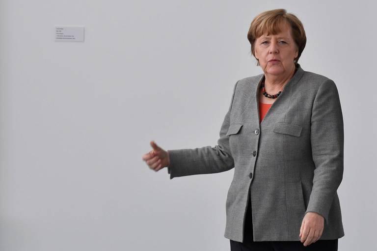 A chanceler alemã, Angela Merkel, na sede da Chancelaria em Berlim
