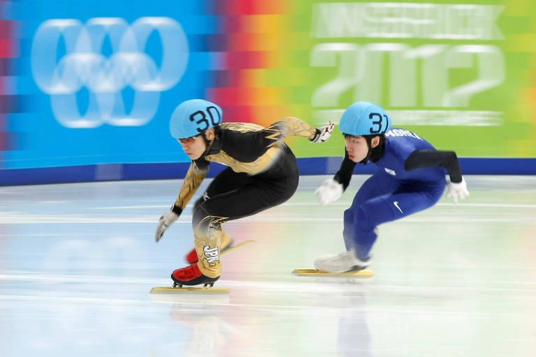 O japonês Kei Saito (à frente) durante os Jogos Olímpicos da Juventude de Inverno de 2012, em Innsbruck, na Áustria
