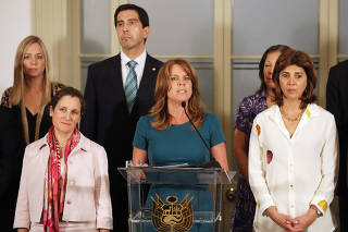 Peru's Foreign Minister Cayetana Aljovin speaks next to Canada's Foreign Minister Chrystia Freeland, and Colombia's Foreign Minister Maria Angela Holguin during a news conference after a meeting to discuss elections in Venezuela, in Lima