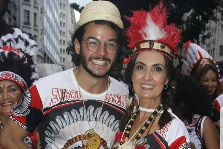 Fátima Bernardes e Túlio Gadelha pulam Carnaval no Rio