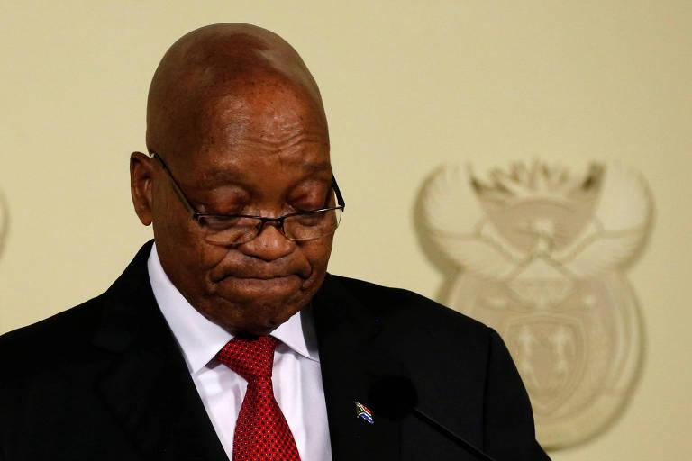 O presidente sul-africano, Jacob Zuma, ao anunciar sua renúncia nesta quarta