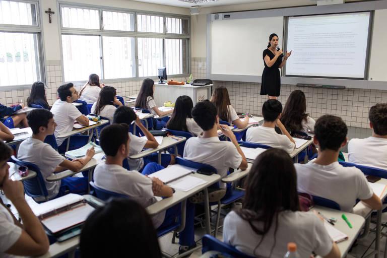 Sala de aula do Colégio Agostiniano Mendel, na zona leste de São Paulo