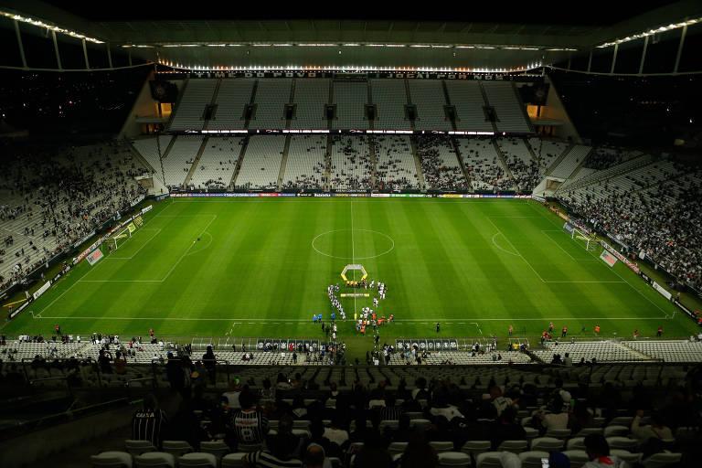 Vista interna do Itaquerão antes da partida entre Corinthians e São Bento pelo Campeonato Paulista