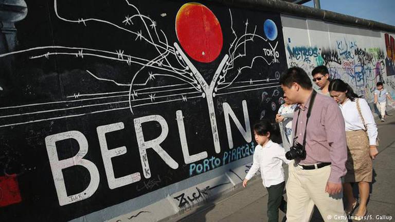 """Criança e pai passam ao lado de muro onde está escrito """"Berlin"""""""