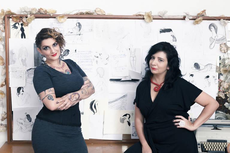 A escritora Clara Averbuck (esq.) e a ilustradora Eva Uviedo (dir.)