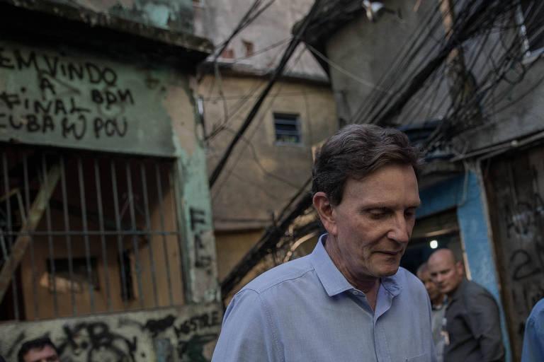 O prefeito do Rio de Janeiro, Marcelo Crivella, na favela da Rocinha