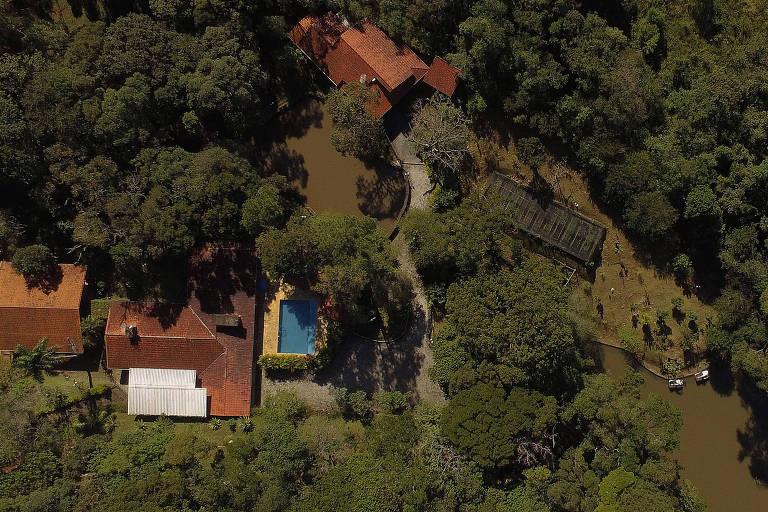 Vista aérea do sítio frequentado pelo ex-presidente Lula na cidade de Atibaia, no interior de São Paulo