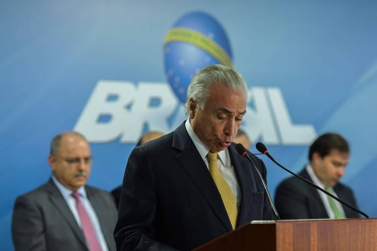 O presidente Michel Temer em discurso durante assinatura de decreto para intervenção no Rio