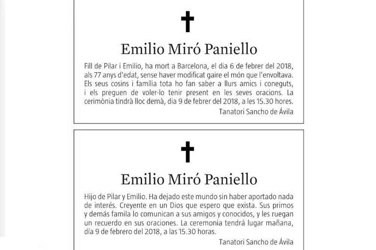Obituário sincero em jornal espanhol intriga leitores