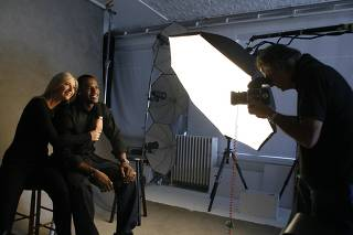 Tennis player Sharapova of Russia and NBA basketball player James of the U.S. pose for a portrait as photographer Demarchelier takes their photo for a United Nations campaign in New York
