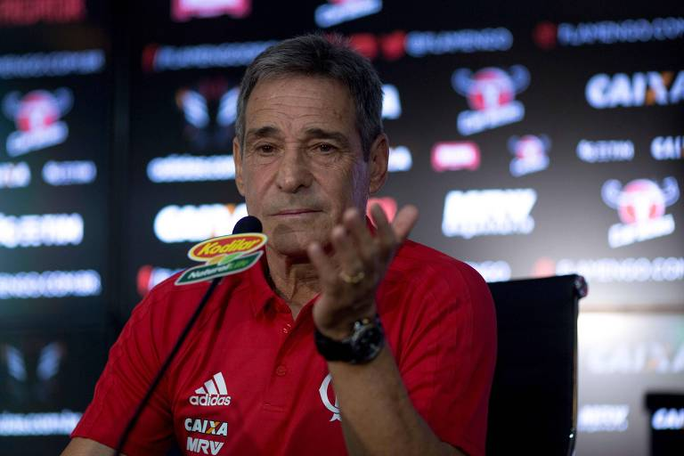 O técnico do Flamengo, Paulo César Carpegiani, concede entrevista coletiva no centro de treinamento do clube, no Rio