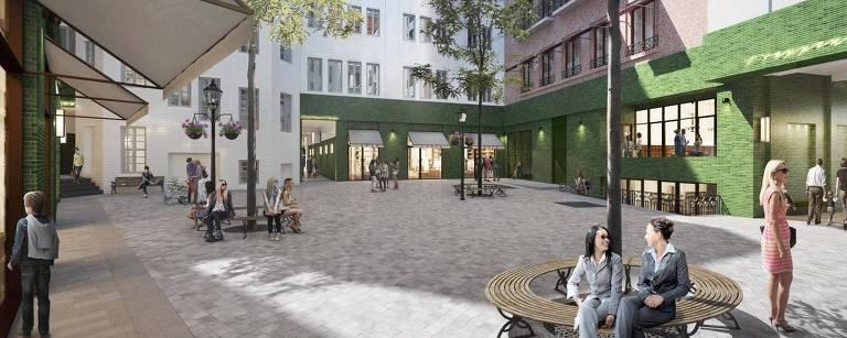 Desenho do projeto do novo Stadthöfe em Hamburgo, no norte da Alemanha