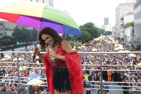 SÃO PAULO, SP, BRASIL.  18-02-2018: Bloco de carnaval Pipoca da Rainha com a cantora Daniela Mercury na rua da Consolação. ( Foto Diego Padgurschi / Folhapress) ORG XMIT: Daniela Mercury