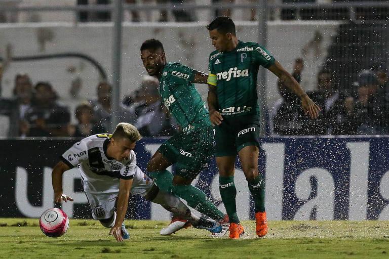 Os jogadores Michel Bastos e Dudu, do Palmeiras, disputam a bola com Felipe Saraiva, da Ponte Preta, durante partida disputada no Moisés Lucarelli, em Campinas