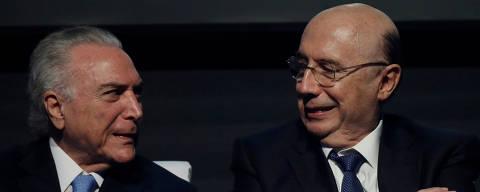 O presidente Temer e o ministro Henrique Meirelles (Fazenda) em evento na Caixa Econômica Federal
