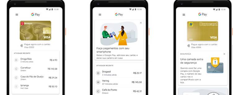 Telas do Google Pay